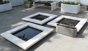 Jättelika kvadratiska fågelbad från Skulpturfabriken med måttet 1x1 m