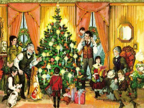 Ett gammalt julkort som visar ett julfirande i borgerlig miljö med ståtlig julgran klädd i levande ljus.