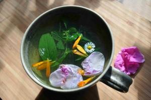 Ett stärkande te gör du på mynta, citronmeliss, rosenblad och ingefära.