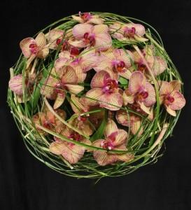 Rosa orkideer inbundna med gräs i klotform.