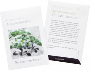 Fröpåsar med genmodifierade frön från backtrav detekterar nedgrävda landminor.