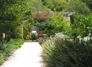 Pergolan skyddar mot den heta solen i en medelhavsträdgård.