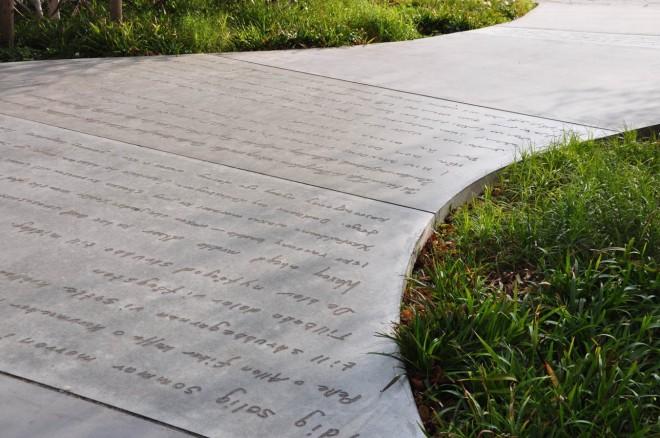 Även markplattor kan gjutas i grafisk betong.
