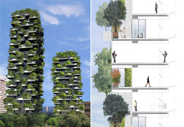 Det 27 våningar höga bostadshuset Bosco Verticale med grönskande balkonger uppförs i Milano, Italien.