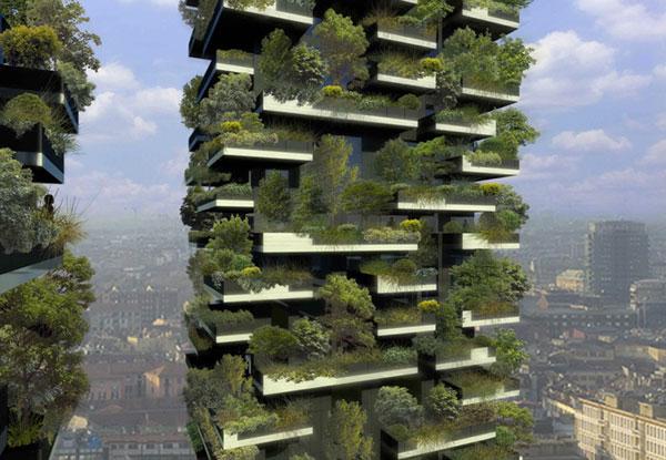Gröna trädgårdar på balkongerna i Bosco Verticale för en grönare stad.