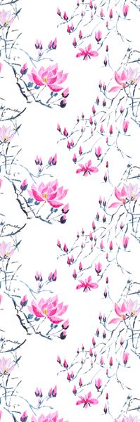 Mönstret Madame Butterfly med magnoliablommor finns både på tyg och tapet.