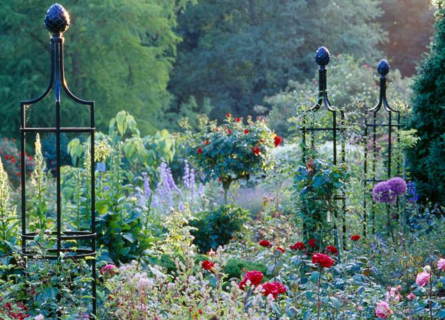 Stiliga rosentorn med rejäl konstruktion som står pall för kraftigväxande buskar.