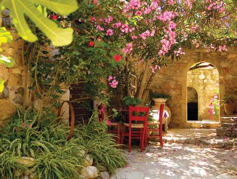 Här äter man frukost under en blommande rosa oleander. Riktig medelhavskänsla.