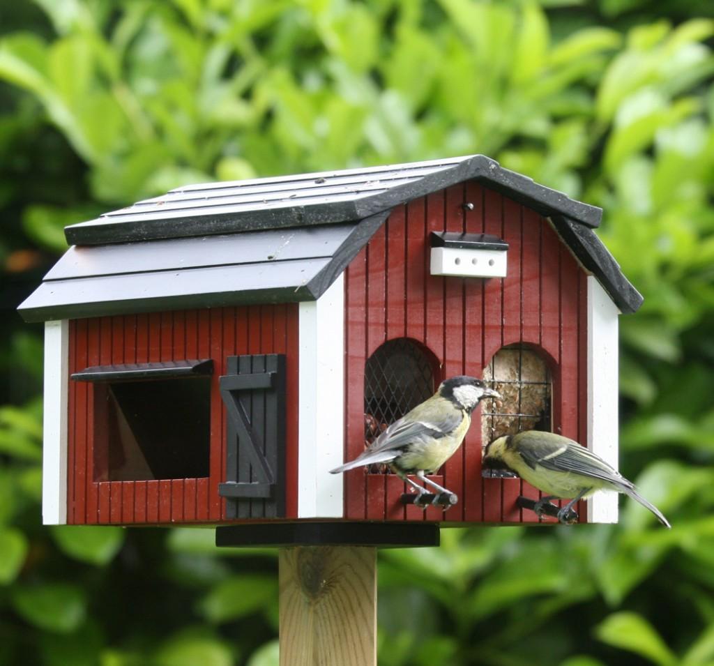 Det finns vackra fågelmathus som passar bra nära ett fönster.