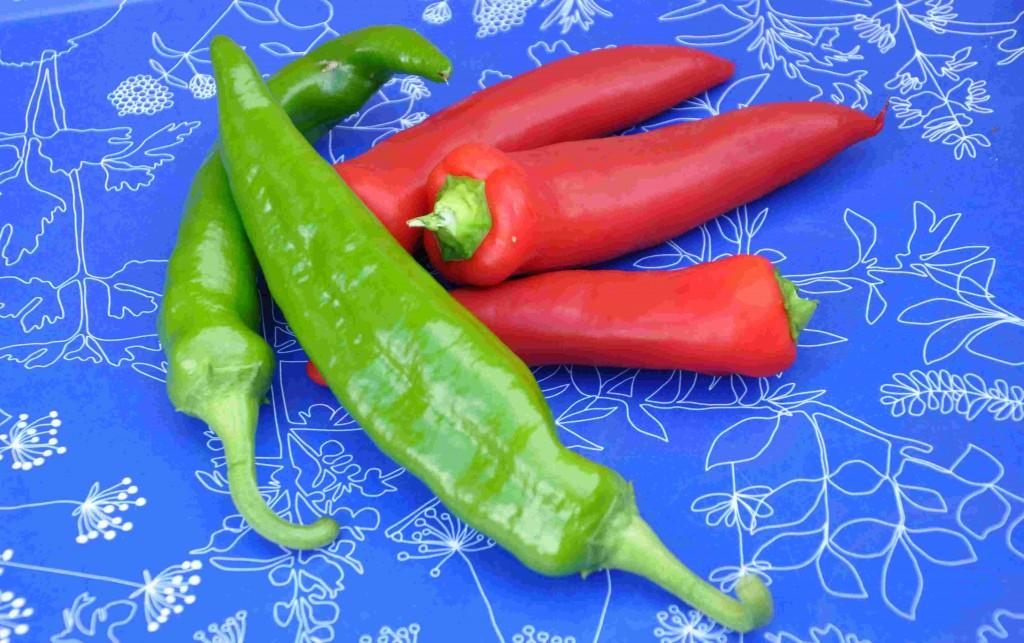 Chilipeppar finns i olika färger och former.